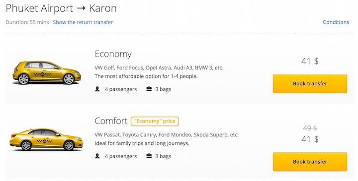Taxi from Phuket airport to Karon beach
