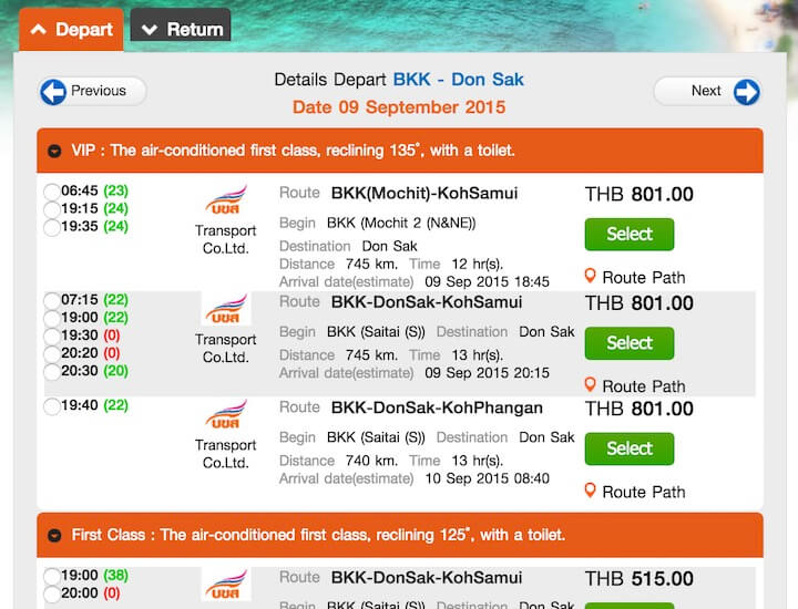 How much costs bus ticket from Bangkok to Samui