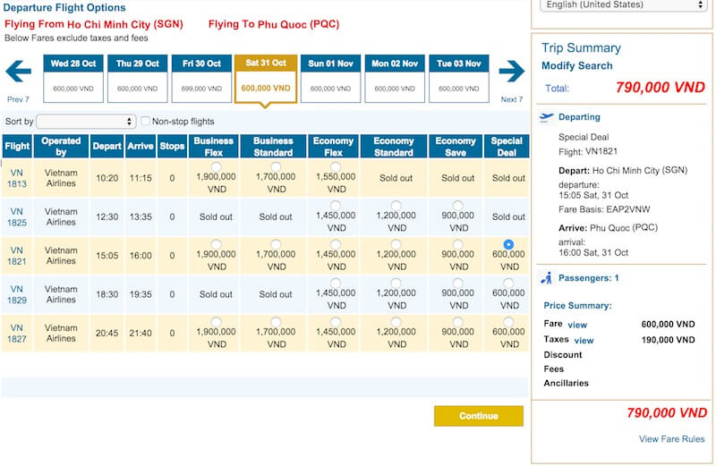 Flights from Ho Chi Minh to Phu Quoc