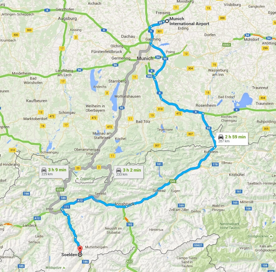 How to get from Munich to Solden by car