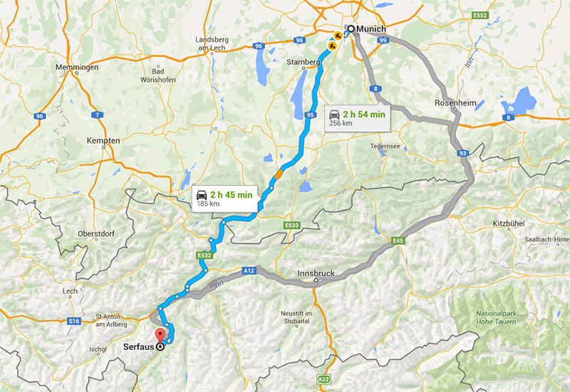 Transfer from Munich to Serfaus by car