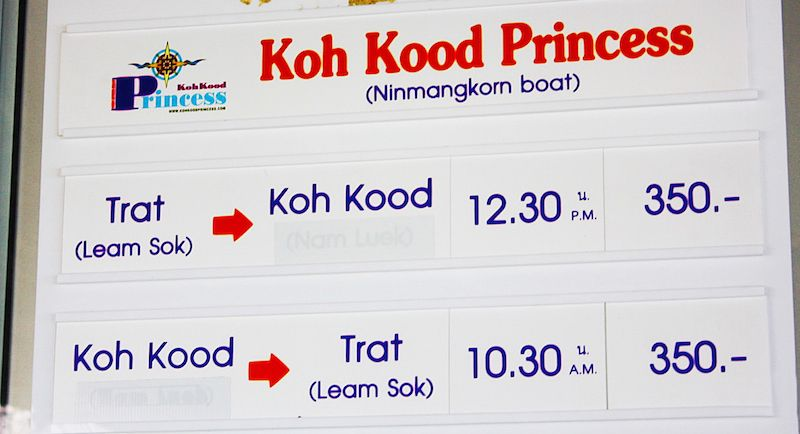 Koh Kood Princess shedule