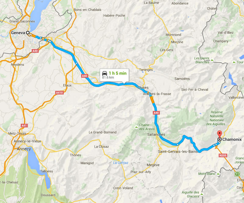 From Geneva to Chamonix by car