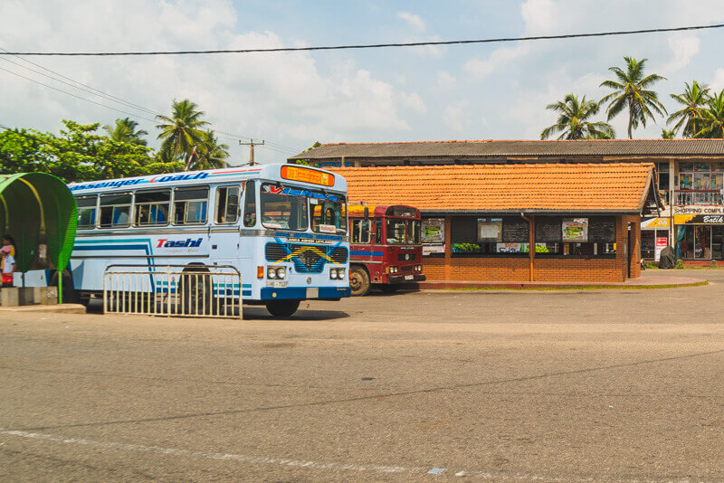 The Bus station in Hikkaduwa. The bus to Galle